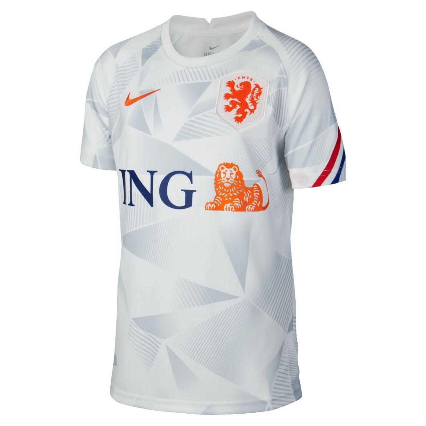 Nike Nederland Pre Match Trainingsshirt 2020-2022 Wit