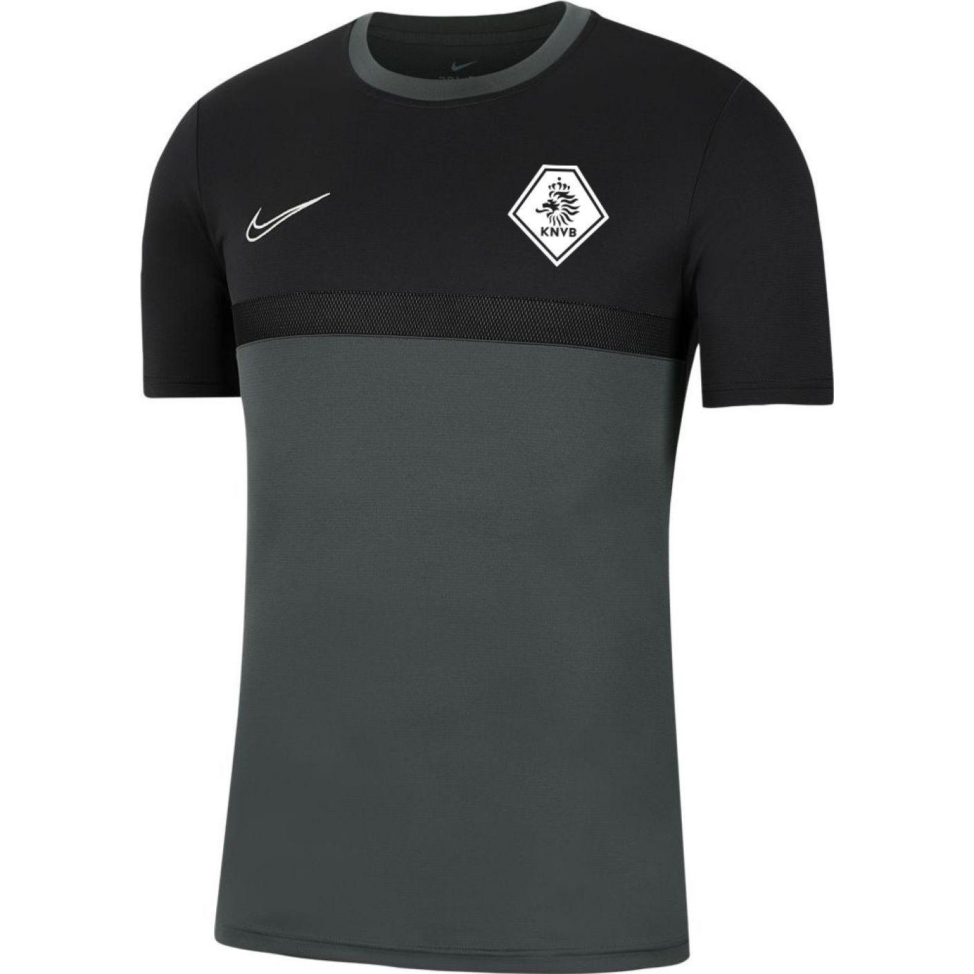 Nike KNVB Academy Pro Trainingsshirt Kids Antraciet Zwart