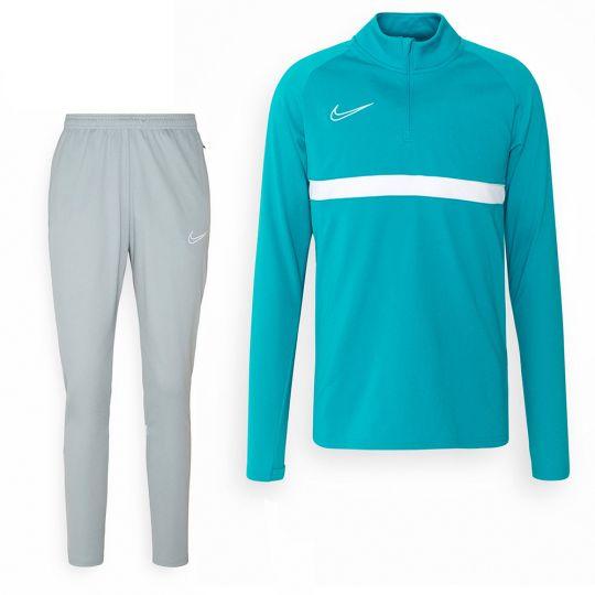 Nike Trainingspak Academy 21 Turquoise Lichtgrijs
